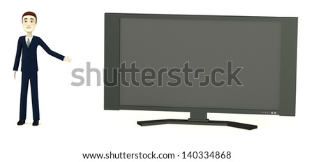 3d render of cartoon charcter with widescreen tv
