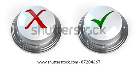 3d render of check mark buttons - stock photo