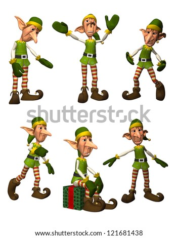 3D render of Christmas Elves