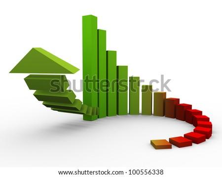 3d render of circular progress bars with rising arrow - stock photo