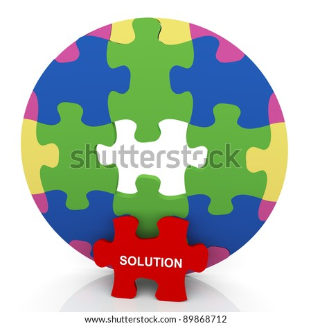 3d render of circular shape puzzle with 'solution' red puzzle piece