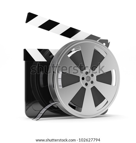 3d render of clapper board with film reel isolated on white background