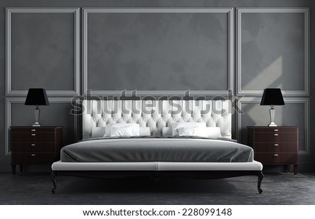 3d render of classic gray room with moldings on wall