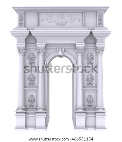 3d render of Classic white stone arch with columns on a white background