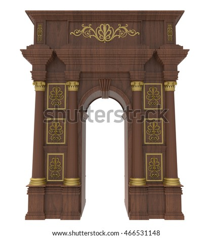 3d render of Classic wooden arch with columns on a white background