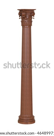 3d render of classic wooden column on a white background