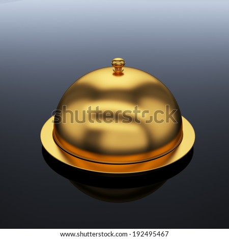 3d render of closed godlen cloche, on grey background