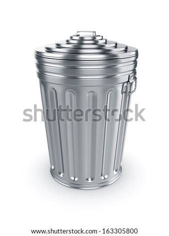3d render of closed trash can isolated on white background