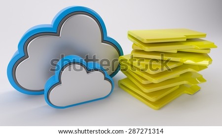3D Render of Cloud Drive Icon - stock photo