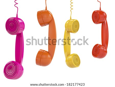 3d render of colered phone receiver hanging