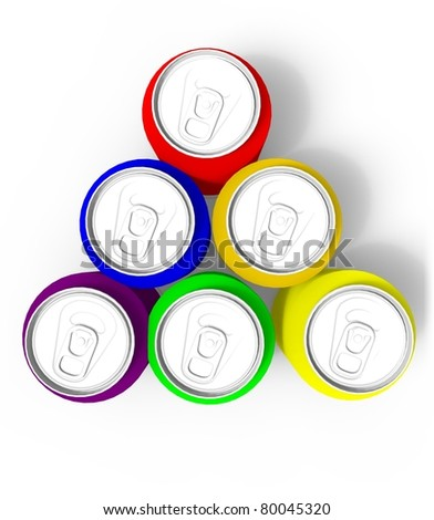 3d render of colored cans, isolated on white background