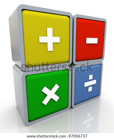 3d render of colorful box of math operations signs. - stock photo