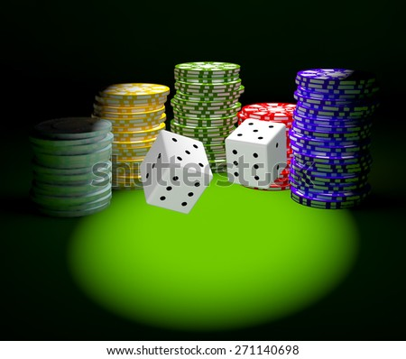 3d render of colorful casino chips and dice for gambling - stock photo