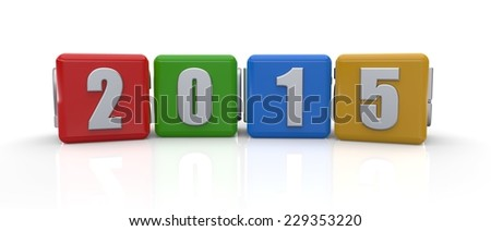 3d render of colorful cubes with the numbers 2015 on white background. - stock photo