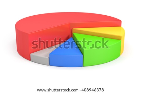 3d render of Colorful 3d pie chart graph over white background