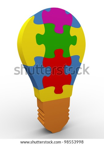 3d render of colorful puzzle bulb - stock photo