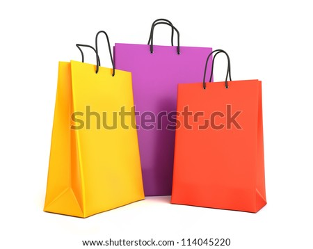 3d render of colorful shopping bags - stock photo