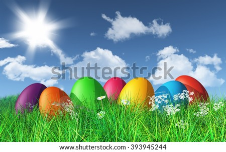 3D render of colourful Easter eggs in grass in a sunny landscape