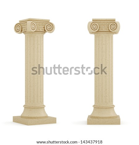 3d render of columns isolated on white background - stock photo