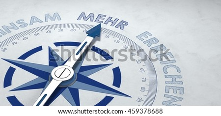 3d render of compass focused on the German word mehr, for concept about more and greater things. Includes copy space. - stock photo