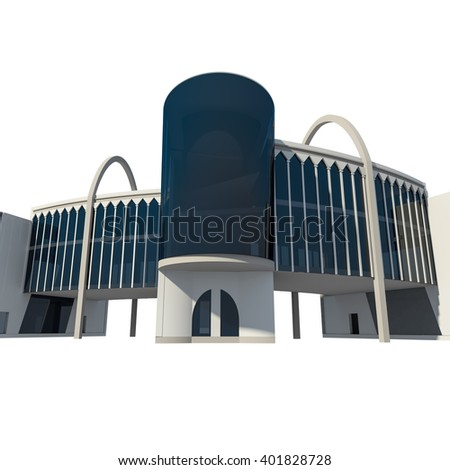 3D render of conceptual commercial building, modern clothes store illustration - stock photo
