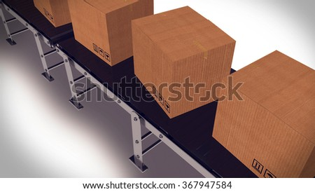 3d render of Conveyor belt with package. Concept