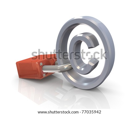 3d render of copyright symbol attached to a lock - stock photo