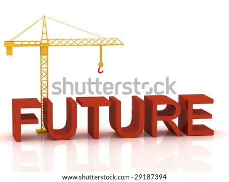 "3d render of crane and text ""Future"""