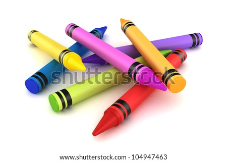 3d render of crayons