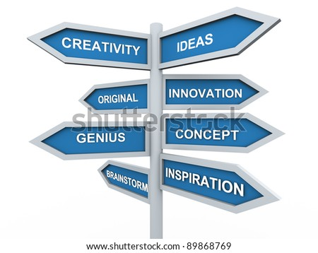 3d render of creativity signpost - stock photo