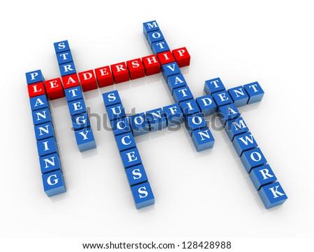 3d render of crossword of concept of leadership - stock photo