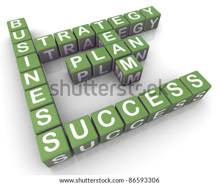 3d render of crossword of successful business planning