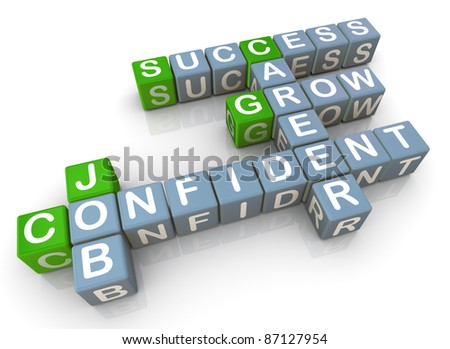 3d render of crossword related to successful job - stock photo