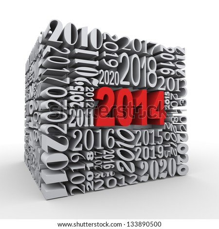 3d render of cube shape created with various year numbers and having one large new year 2014