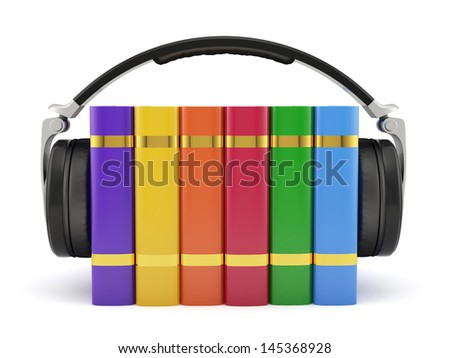 3d render of cudio book concept isolated on white background - stock photo