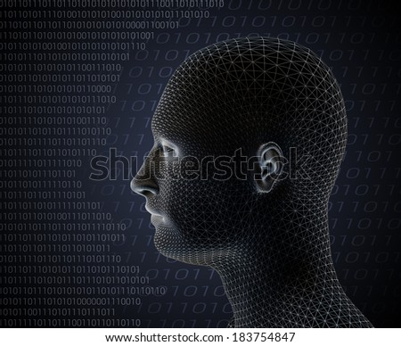 3d render of cyber man on grey background with computer language code