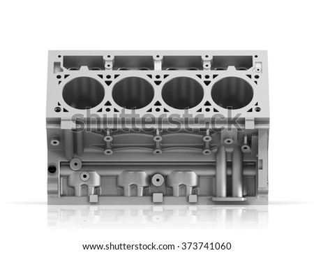 3d render of cylinder block from strong car with V8 engine isolated on a white background. - stock photo