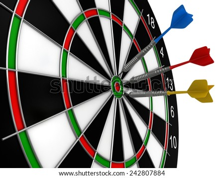 3d render of darts and board isolated over white background - stock photo