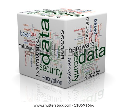 3d render of data protection wordcloud cube. Concept of securing and protecting sensitive data.