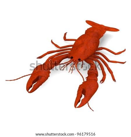 3d render of dead crayfish - stock photo