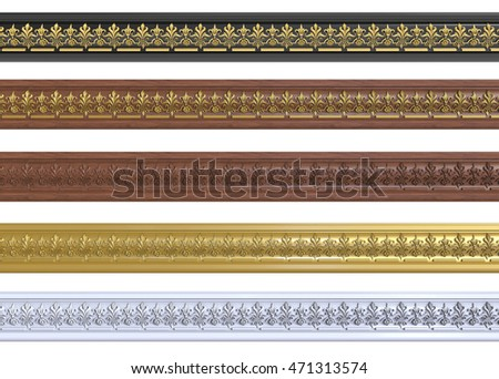 3d render of decorative cornices with ornaments on a white background