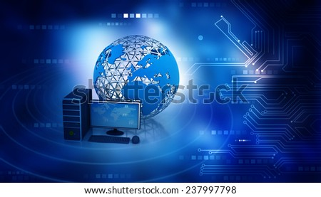 3d render of desktop computer with globe on abstract blue background	 - stock photo