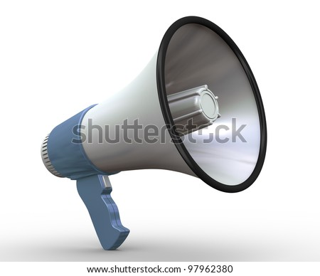3d render of detailed megaphone on white background - stock photo