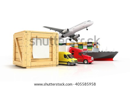 3d render of different modes of transport go out of a wooden box with a blank sheet on it isolated on white - stock photo