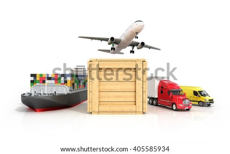 3d render of different modes of transport go out of the wooden box - stock photo