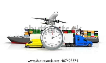 3d render of different  transport on the background of the stopwatch concept of fast diverse deliveries - stock photo