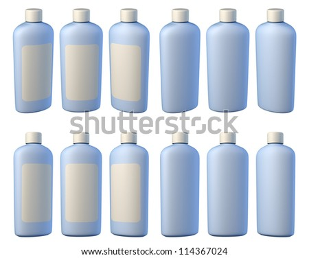 3d render of different views cosmetic bottle isolated on white background - stock photo