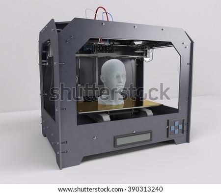 3D Render of 3 Dimensional  Printer - stock photo