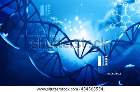 3d render of DNA structure on blue background	 - stock photo