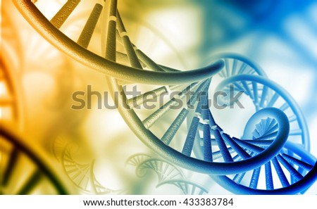 3d render of  DNA structure on color background 	 - stock photo